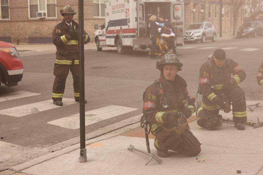 "CHICAGO FIRE -- ""What Comes Next"" Episode 914 -- Pictured: (l-r) Eamonn Walker as Wallace Boden, Jesse Spencer as Matthew Casey, Joe Minoso as Joe Cruz -- (Photo by: Adrian S. Burrows Sr./NBC)"