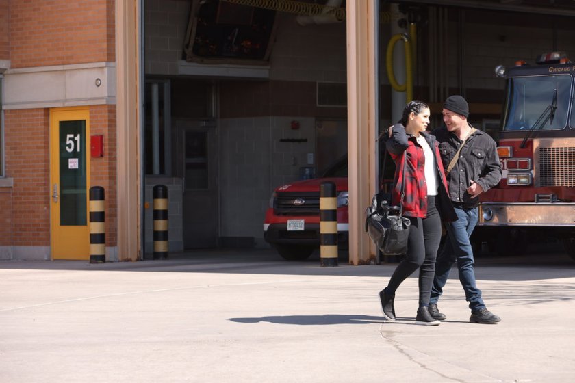 """CHICAGO FIRE -- """"A White Knuckle Panic"""" Episode 915 -- Pictured: (l-r) Miranda Rae Mayo as Stella Kidd, Taylor Kinney as Kelly Severide -- (Photo by: Adrian S. Burrows Sr./NBC)"""