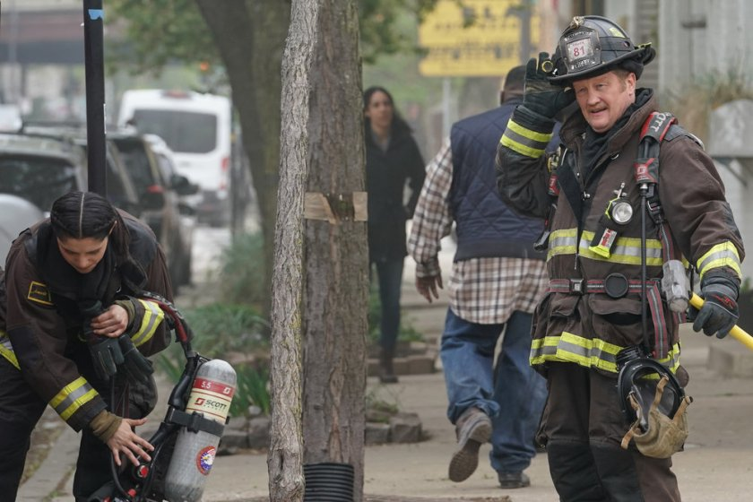 """CHICAGO FIRE -- """"A White Knuckle Panic"""" Episode 915 -- Pictured: (l-r) Miranda Rae Mayo as Stella Kidd, Christian Stolte as Randall """"Mouch"""" McHolland -- (Photo by: Lori Allen/NBC)"""