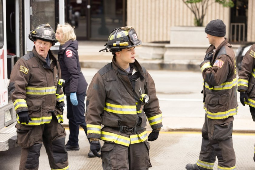 """CHICAGO FIRE -- """"No Survivors"""" Episode 916 -- Pictured: (l-r) Christian Stolte as Randall """"Mouch"""" McHolland, Alberto Rosende as Blake Gallo -- (Photo by: Adrian S. Burrows Sr./NBC)"""