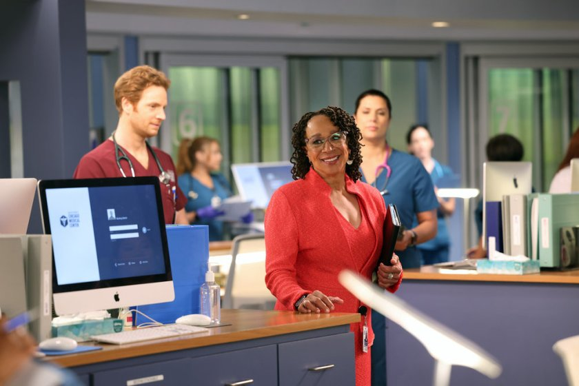 """CHICAGO MED -- """"You Can't Always Trust What You See"""" Episode 701 -- Pictured: (l-r) Nick Gehlfuss as Dr. Will Halstead, S. Epatha Merkerson as Sharon Goodwin -- (Photo by: George Burns Jr/NBC)"""