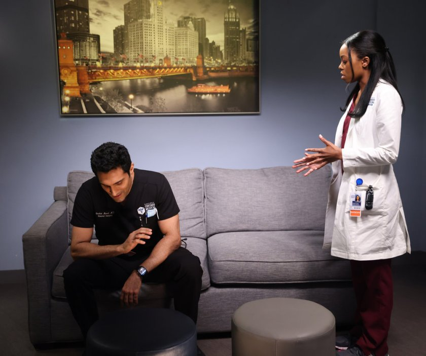 """CHICAGO MED -- """"Status Quo, aka The Mess We're In"""" Episode 704 -- Pictured: (l-r) Dominic Rains as Crockett Marcel, Asjha Cooper as Vanessa Taylor -- (Photo by: George Burns Jr/NBC)"""