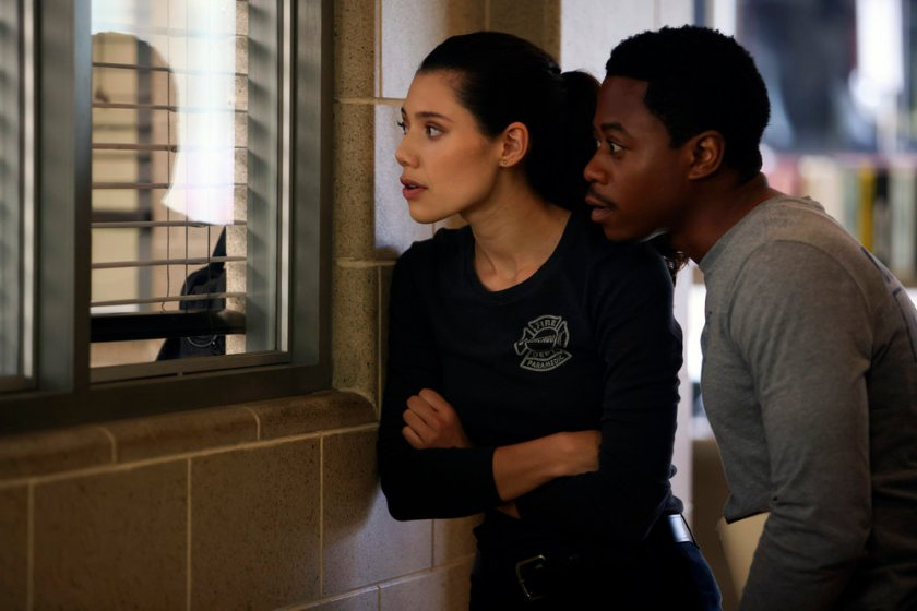 """CHICAGO FIRE -- """"The Right Thing"""" Episode 1004 -- Pictured: (l-r) Hanako Greensmith as Violet, Daniel Kyri as Darren Ritter -- (Photo by: Adrian S. Burrows Sr./NBC)"""