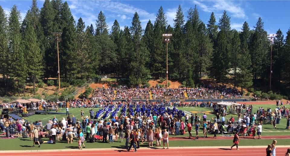 Nevada Union graduates gather. (photo by Wendy Graham.) The photo atop this essay is of the graduates of Forest Charter School. I know many of the graduates from both schools.
