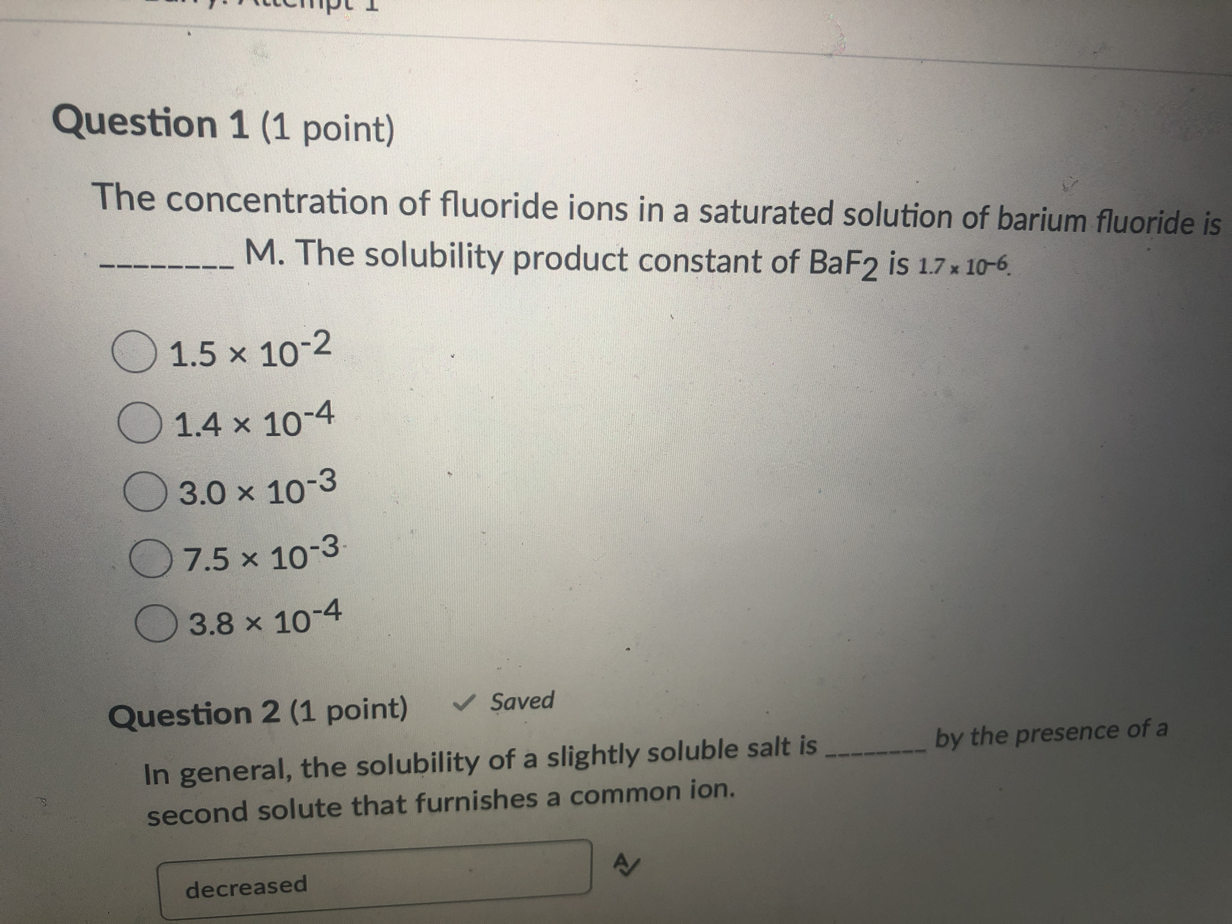 The Concentration Of Fluoride Ions In A Saturated Solution