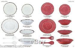 18pc antiqua white top quality outdoor patio melamine dinnerware set for six