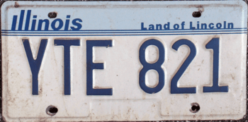 English: 1987 Illinois license plate