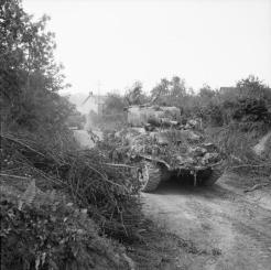 Irish Guards, Guards Armoured Division, move across country during the advance south of Caumont