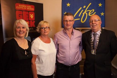 Carol Gleeson, Darra & Niall Hughes, Cllr Richard Nagle - Sea View House Visitor Communication Award