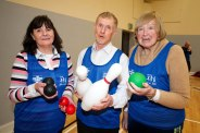 West Clare team L-R Patricia O'Neill, Oliver Ryan and Josephine Glynn taking part in the Go For Life Games at Inagh Community Centre.The overall aim of Go for Life is to get older people more active, more often. The aim of the Go for Life Games is to involve older people in recreational sport. The games are run with the support of Clare Sports Partnerships and the HSE..Pic Arthur Ellis.