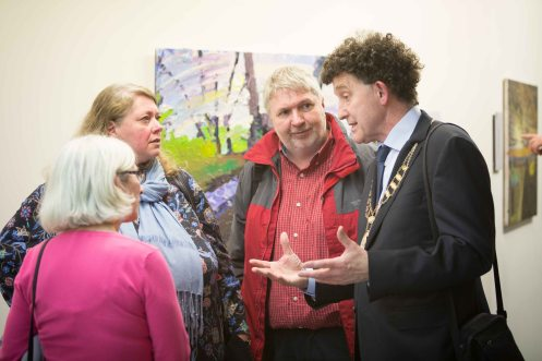 Marie Conlon, Karen McDonnell,Ross McDonnell and Mayor Johnny Flynn at the Ennis Book Club Festival this weekend. Photograph by Eamon Ward