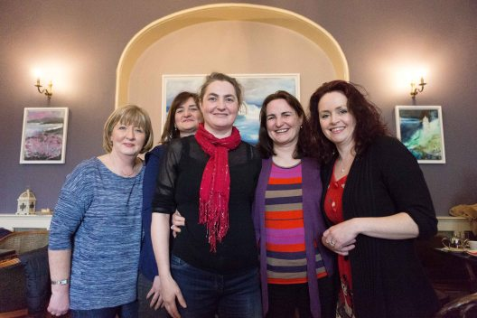 """Maria Cunningham, Mairead Meaney,Delores Meaney,Mary Meaney and Stephanie Woods, winning group at the """"Books and Buns"""" quiz at the Rowan Tree as part of the Ennis Book Club Festival this weekend. Photograph by Eamon Ward"""
