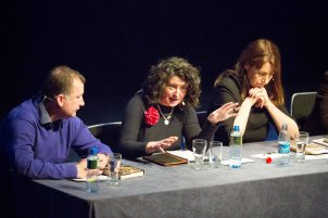 """Fiona O'Malley flanked by Dr Gary Murphy and Katie Hannon speaking at the Ennis Book Club Festival Sunday Symposium """"Politics and Pathology"""" at Glor ,Ennis on Sunday. Photograph by Eamon Ward"""