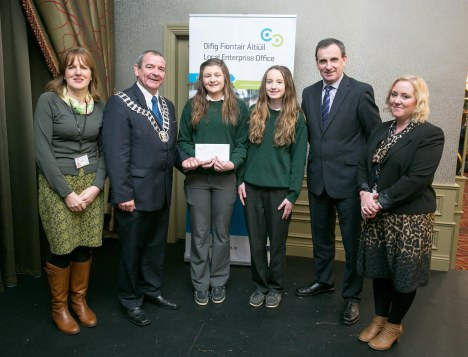 Intermediate Category Winners - 1st Blissful Beauty (St Michael Community College Kilmihil) L-R Betty Devanny, Local Enterprise Office Clare, Leas Cathaoirleach Cllr. Tony O'Brien, Alana and Jennifer of Blissful Beauty, Ger Dollard, Director of Services and Sinead Dixon, Local Enterprise Office Clare pictured at the Award Ceremony in The Treacys West County Hotel Ennis on Thursday.Pic Arthur Ellis.