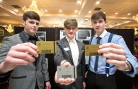 Senior Category Winners - 3rd Custom Clock-In (Rice College Ennis) Jack O'Grady, Eoin O'Neill and Fergal Coughlan pictured at the Award Ceremony in The Treacys West County Hotel Ennis on Thursday.Pic Arthur Ellis.