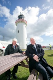 Pictured at Loop Head Lighthouse today are twin brothers and both former Lighthouse Keepers Mick and Gerry Tevlin.Pic Arthur Ellis.