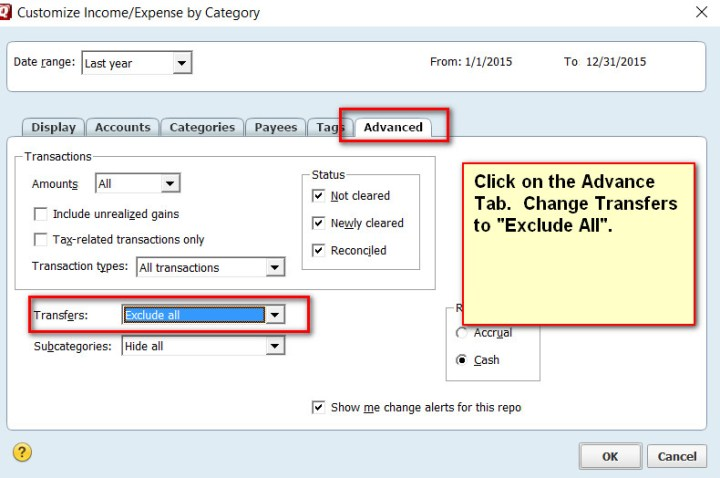 Quicken Report Customize Advance