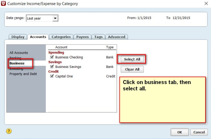 Quicken Report Customize Select Business