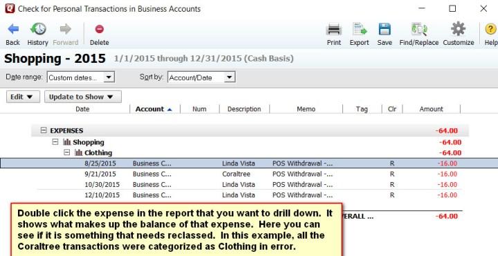 Quicken Report Drill Down Expense