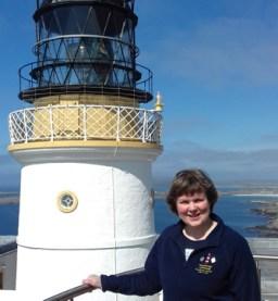Joy Tubby (Adcock), author of Lighthouse Accommodation Britain and Worldwide at Sumburgh Head, Shetland