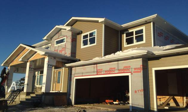 Siding on new construction in Winnipeg