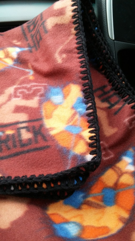 Brown Hockey Themed Baby Blanket