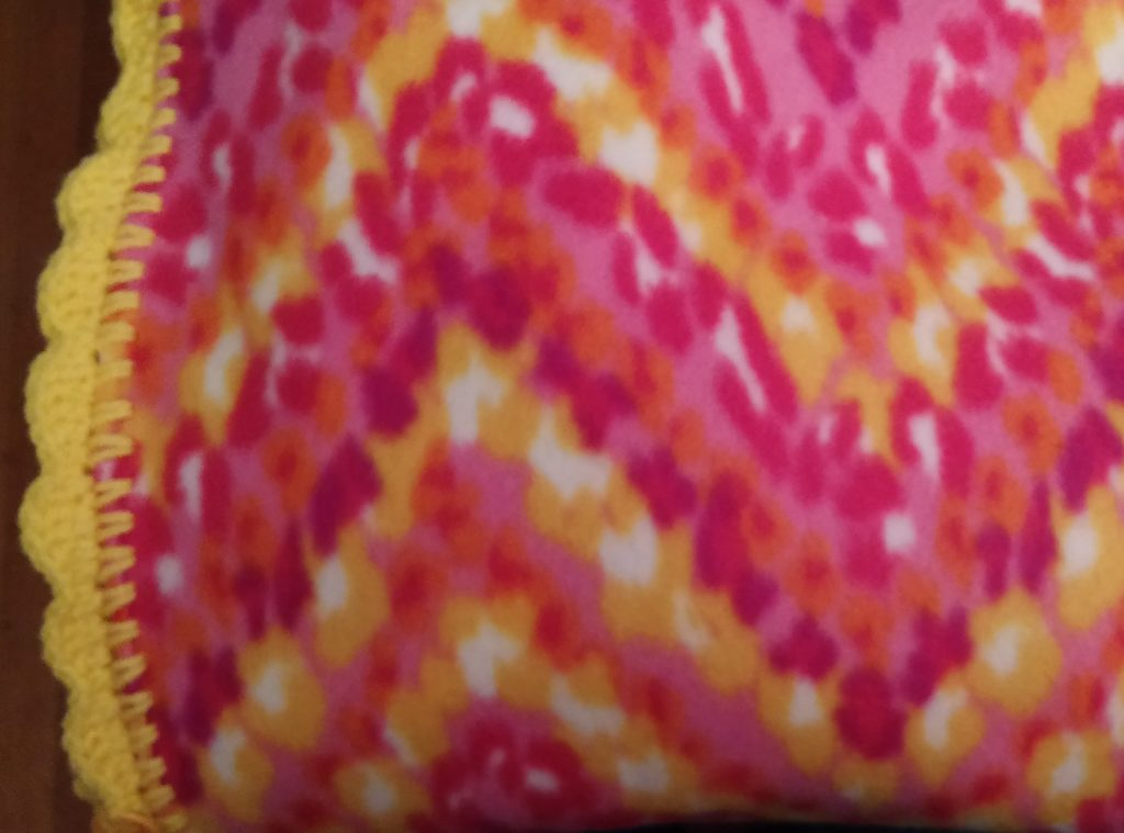 Warm Colors Blanket with Yellow Trim