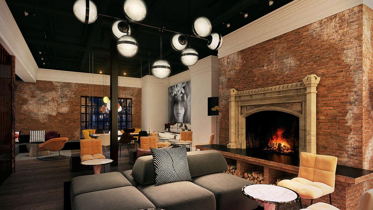 Zeppelin Lounge Fireplace
