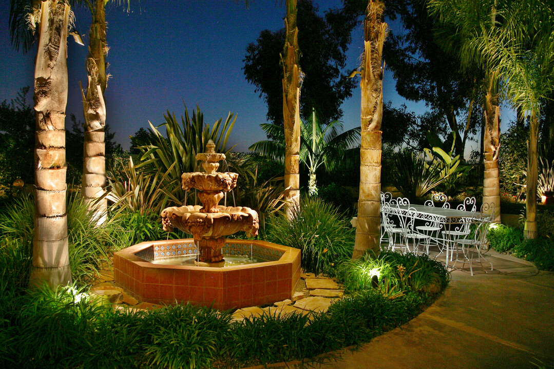 Uplight water fountain and palm trees