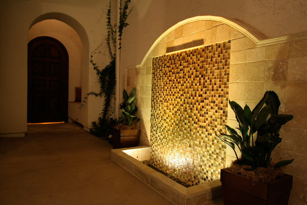 Wall water lighting feature