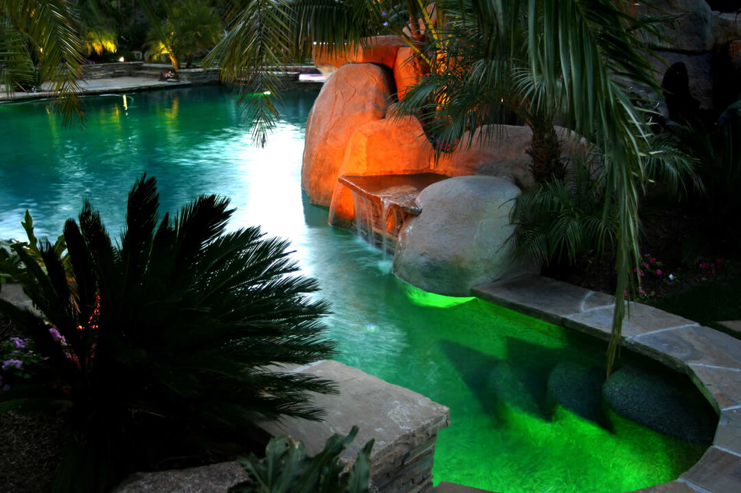 Pool lighting in soft green