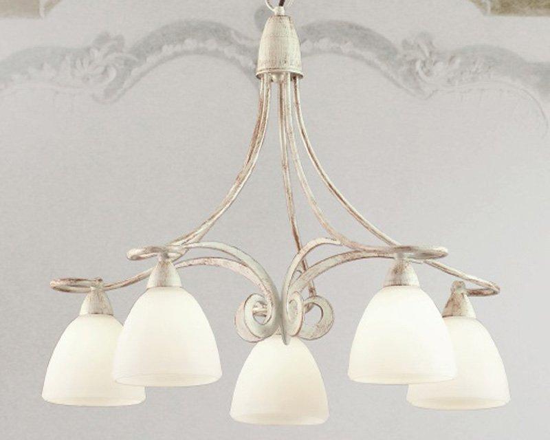 Ottone lucidato a mano, vetro e legno: 1730 5 Lam Lampadario Classico Stile Provenzale Lightinspiration It