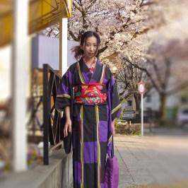 Woman in purple kimono in front of cherry blossom