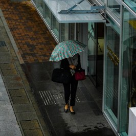 A woman wearing an umbrella on the street in front of the station 2