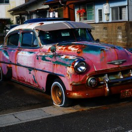 Old american car faded