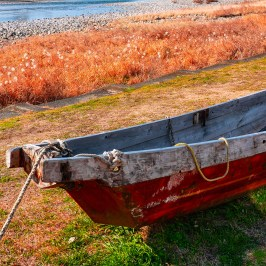 Old ship on the riverbank faded