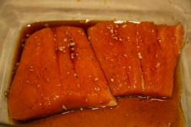 Step 2: Coat salmon with maple syrup mixture and place in fridge, covered, for 30 minutes, turning once.