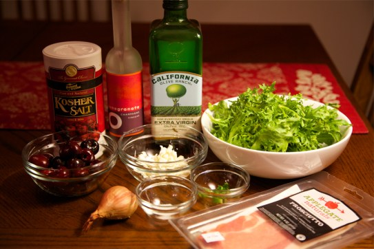 Ingredients for Frisée Salad with Cherries & Goat Cheese