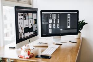 beginner graphic design tools | graphic design program on computer screens