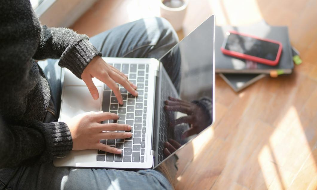 maintaining your business - working from home on laptop