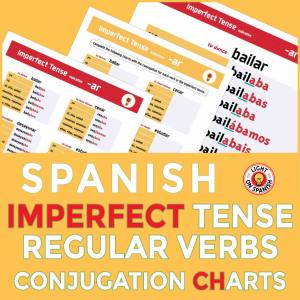 Spanish Imperfect Tense Conjugation Charts for 20 Regular Verbs