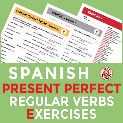 Spanish Present Perfect Tense Exercises for 20 Regular Verbs
