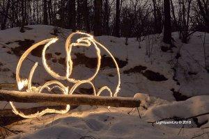 Рисование открытым огнем - Дракон