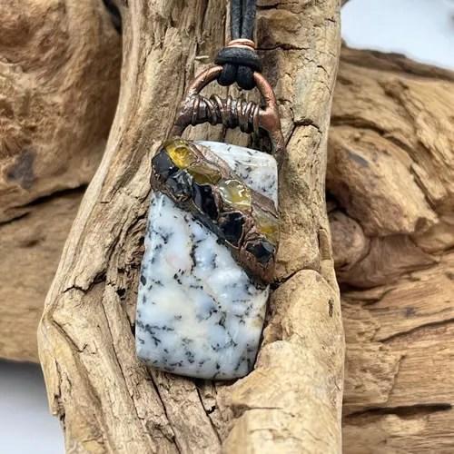 Dendritic Agate, Citrine and Black Tourmaline Pendant