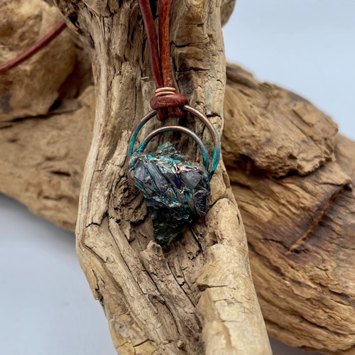Moldavite And Fluorite Pendant
