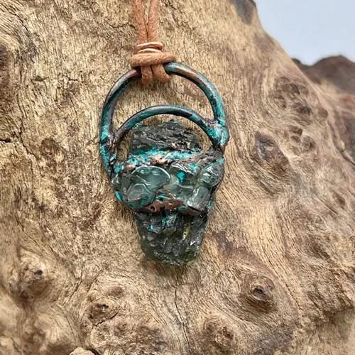 Moldavite And Zircon Pendant