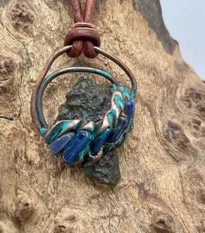 Moldavite And Blue Kyanite Pendant