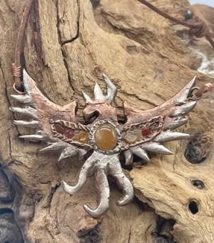 Copper & Silver Phoenix Pendant
