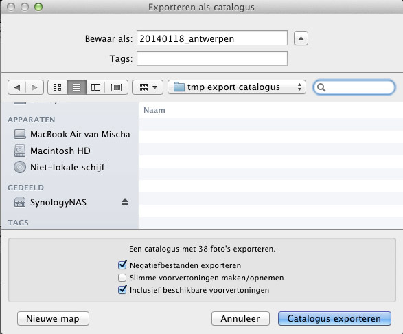 LR catalogus exporteren screenshot 2