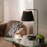 Modern Black Table Lamp And Black Floor Lamp With Black Lampshades And Copper Linings Lights And Linen